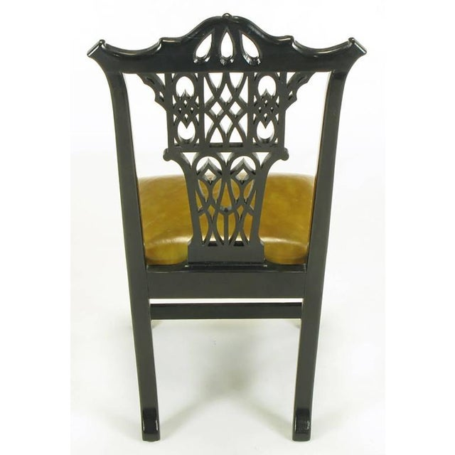 Eight Chinese Chippendale Ebonized Mahogany Dining Chairs with Leather Seats - Image 5 of 9