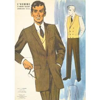 Vintage Men's Suit Fashion Print, 1967