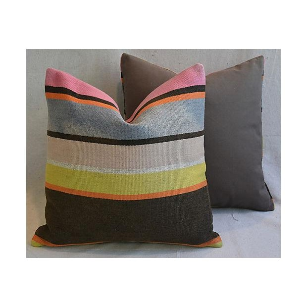 Custom Tailored Anatolian Turkish Kilim Wool Feather/Down Pillows - A Pair - Image 8 of 11