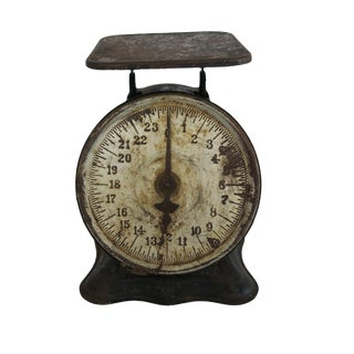Vintage Rusty Metal Kitchen Scale