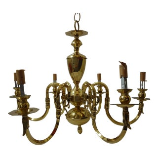 Traditional Vintage Brass 6-Arm Chandelier