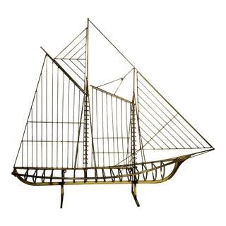 Curtis Jere Vintage Brass Ship 1976