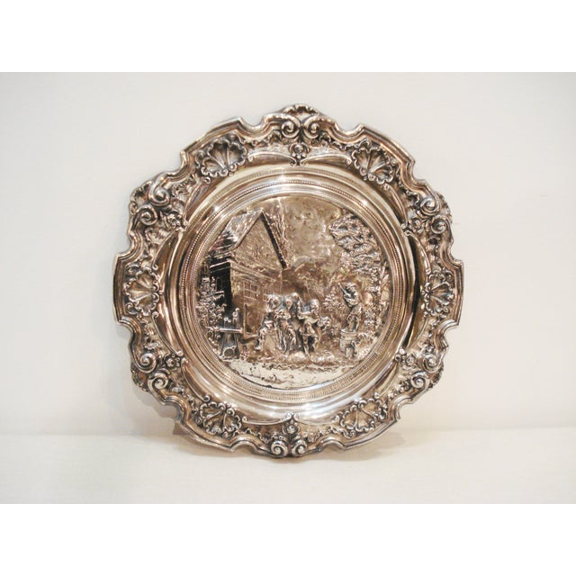 Large French Silver Wall Plate - Villager Feast - Image 2 of 8