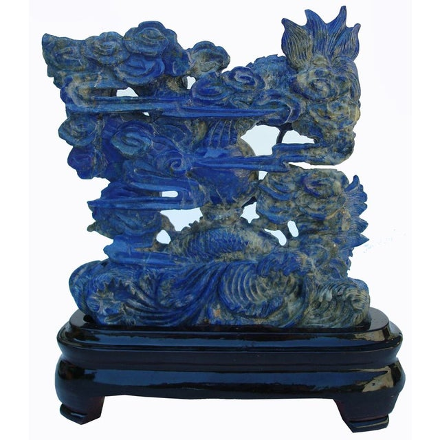 3-D Carved Lapis Asian Dragons Statue - Image 2 of 6