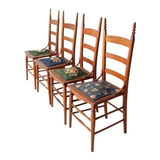 Victorian Ladderback Chairs with Needlepoint - 4