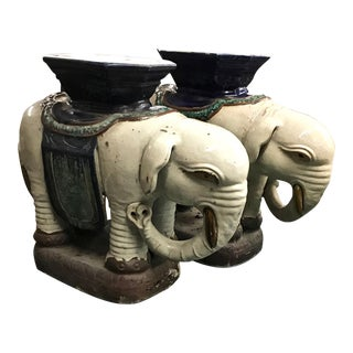 C. 1950-60 Asian Elephant Garden Stools - A Pair