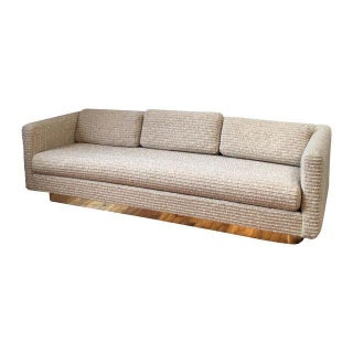 Exceptional Milo Baughman Brass Base Sofa in Wool