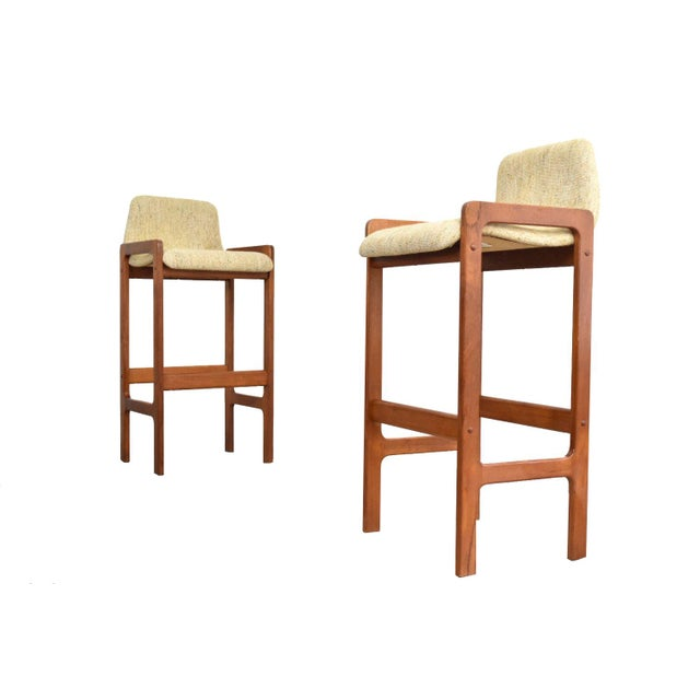 Dixie Furniture Danish Modern Style Teak Bar Stools- A Pair - Image 1 of 5