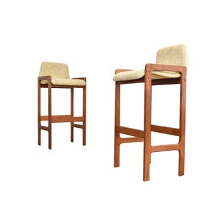 Dixie Furniture Danish Modern Style Teak Bar Stools- A Pair