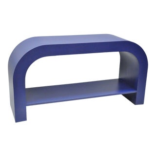 Vintage Mid-Century Modern Blue Laminate Curved Waterfall Console Table
