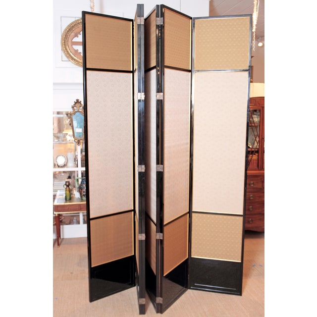 Large Neo Classical Six-Panel Black Lacquer and Fabric Screen/Room Divider - Image 3 of 11