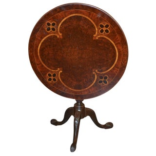 19th Century English Inlaid Tilt-Top Side Table