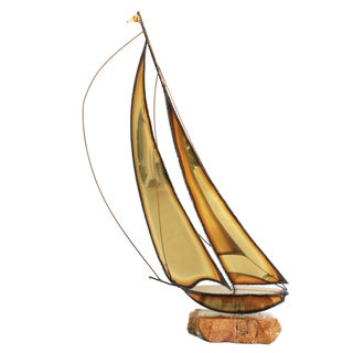 Signed 1970s Marble & Brass Sailboat Sculpture