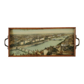 Lithograph of Lyons France with Metal Handles