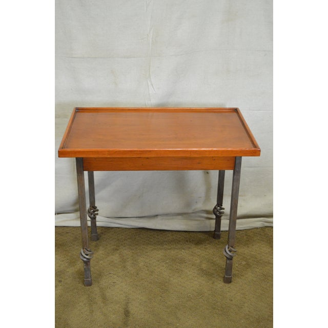 Custom Pair of Iron Base Tray Top Side Tables - Image 5 of 11