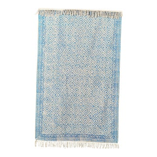 Cotton Hand Block Light Blue Rug - 4' X 6'