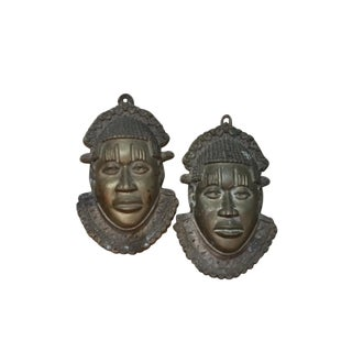 Cast Bronze African Face Masks - A Pair