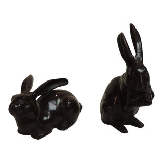Vintage Pair of Brown Metal Rabbits.