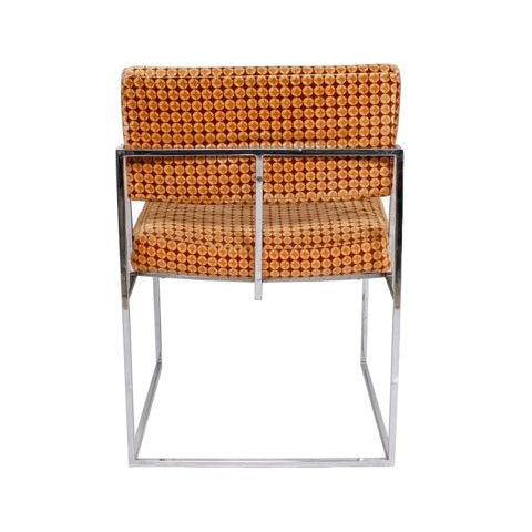 Thayer Coggin Upholstered Chrome Chairs - A Pair - Image 4 of 6