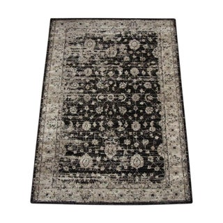 Vintage Traditional Distressed Brown Turkish Rug - 4'x 5'8''