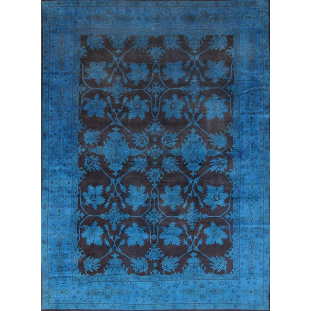 """Image of Overdyed Handmade Brown & Blue Rug - 10'2"""" X 13'8"""""""