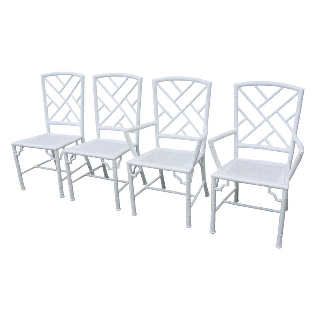 Image of Aluminum Chippendale Faux Bamboo Patio Chairs -S/4