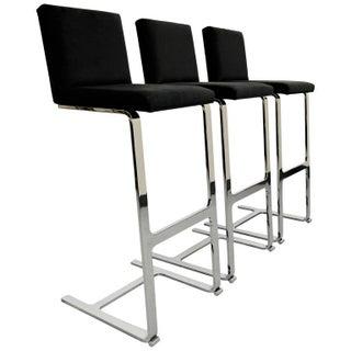 Chrome Cantilever Bar Stools - Set of 3