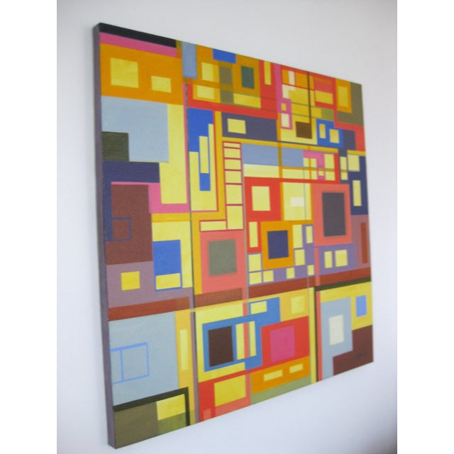 """Homage to the Squares"" Original Oil Painting - Image 4 of 4"