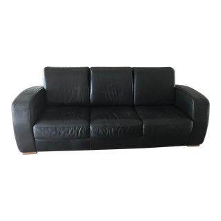 Natuzzi Black Leather Sofa