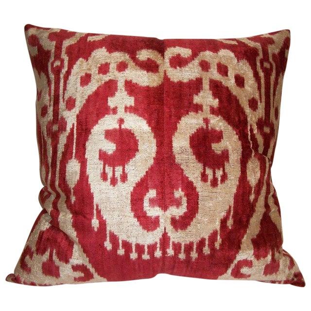 Custom made Silk Velvet Ikat Pillow - Image 1 of 3