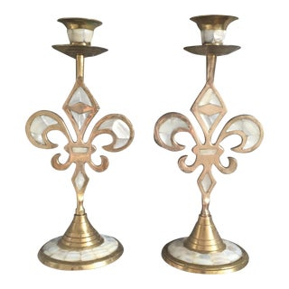 Vintage Brass Mother of Pearl Inlay Fleur De Lis Candle Holders- a Pair