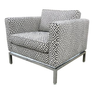 Mid-Century Club Chair in Grey Cut Velvet