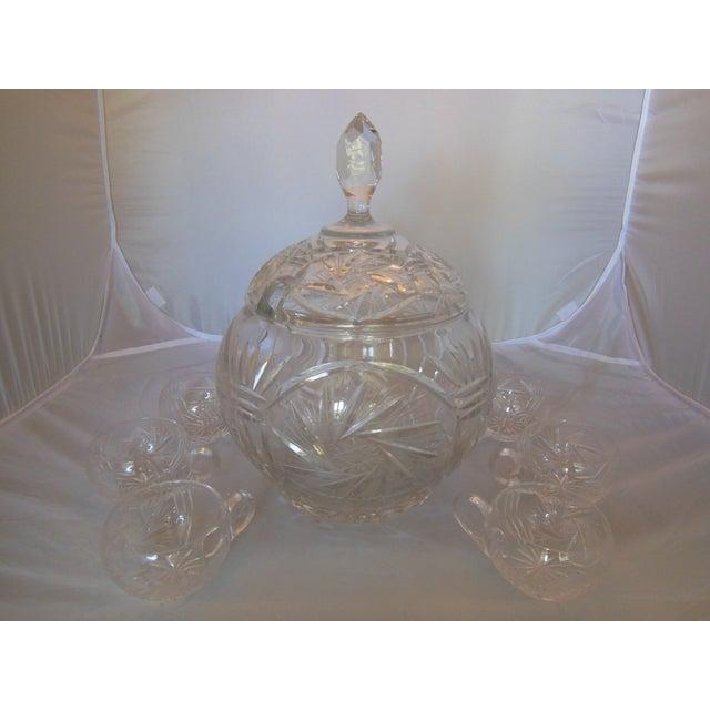 Vintage Crystal Lidded Punch Bowl Set - Set of 7 - Image 3 of 7