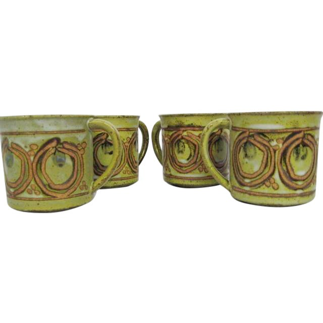 Vintage Stoneware Mugs - Set of 4 - Image 1 of 7