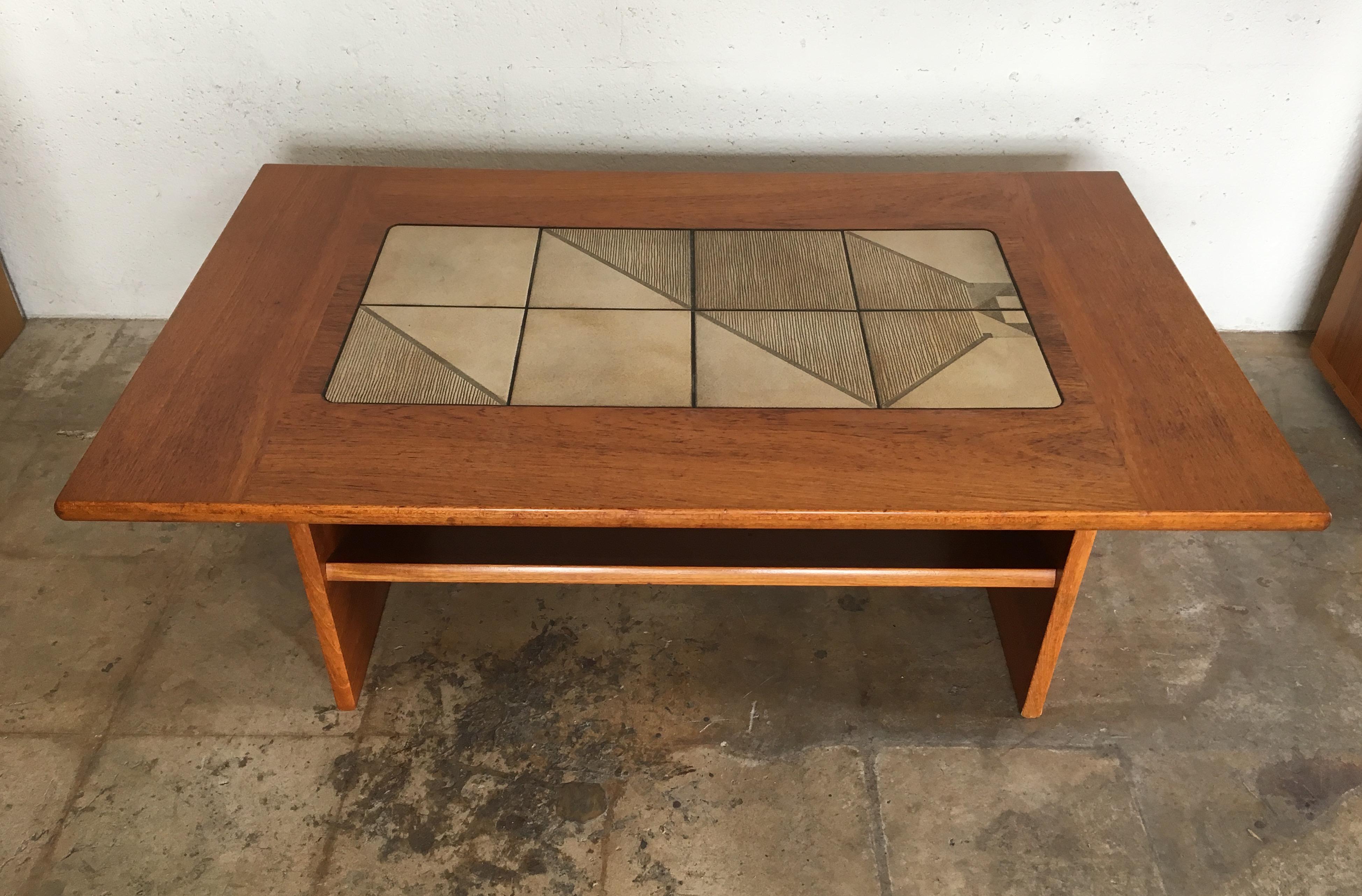 Mid Century Danish Modern Tile Top Coffee Table   Image 3 Of 10