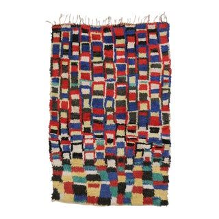 Mid-Century Modern Vintage Berber Moroccan Rug with Checkerboard Design
