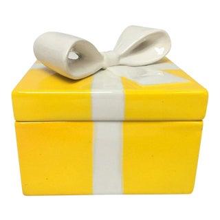 Mancioli Italy Yellow Porcelain Covered Gift Box