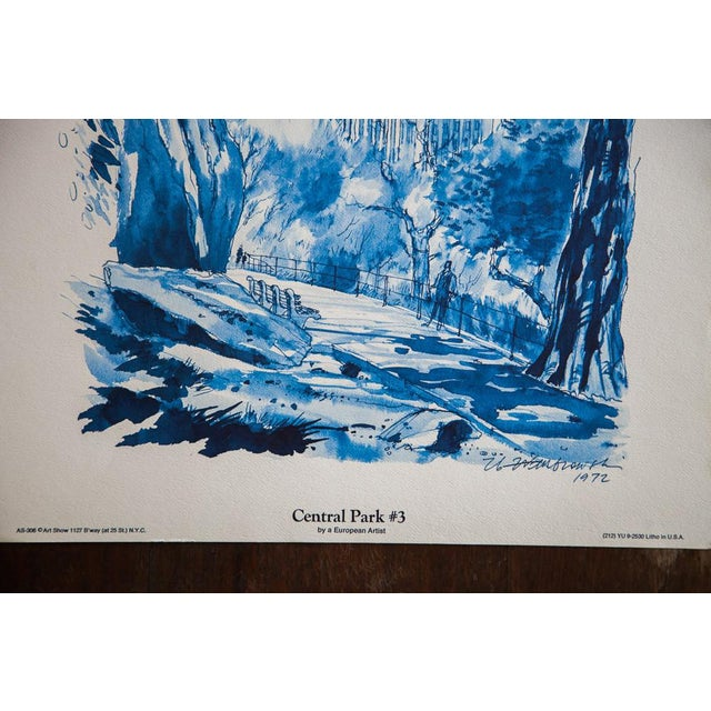 Blue Minimalistic Central Park NYC Lithograph 3 - Image 5 of 6