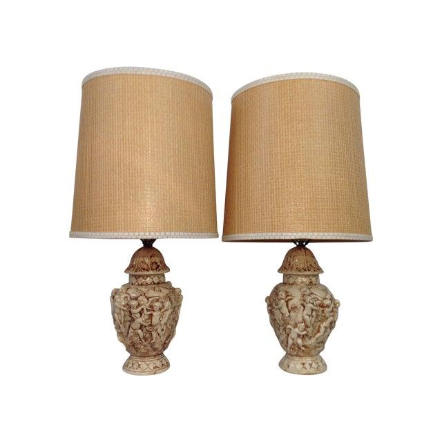 Majolica Porcelain Cherub Relief Lamps - Pair - Image 1 of 9
