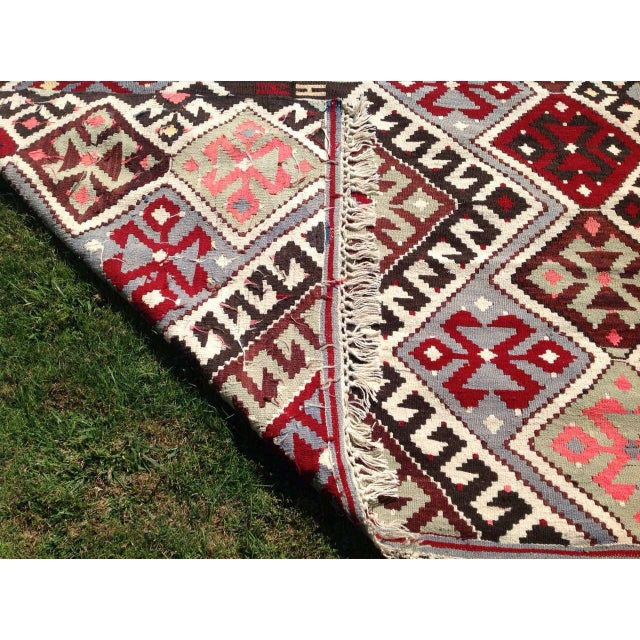 "Vintage Turkish Kilim Chevron Diamond Flat-Weave Wool Handwoven Rug - 5'5"" X 8'5"" - Image 5 of 6"