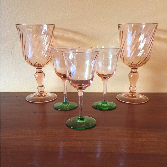 Art Deco Pink Glass Stemware - Set of 5 - Image 2 of 10
