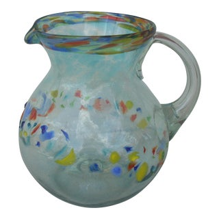 Multicolor Clear Glass Pitcher