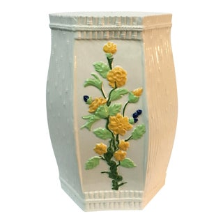 Hollywood Regency Ceramic Faux Bamboo Garden Stool
