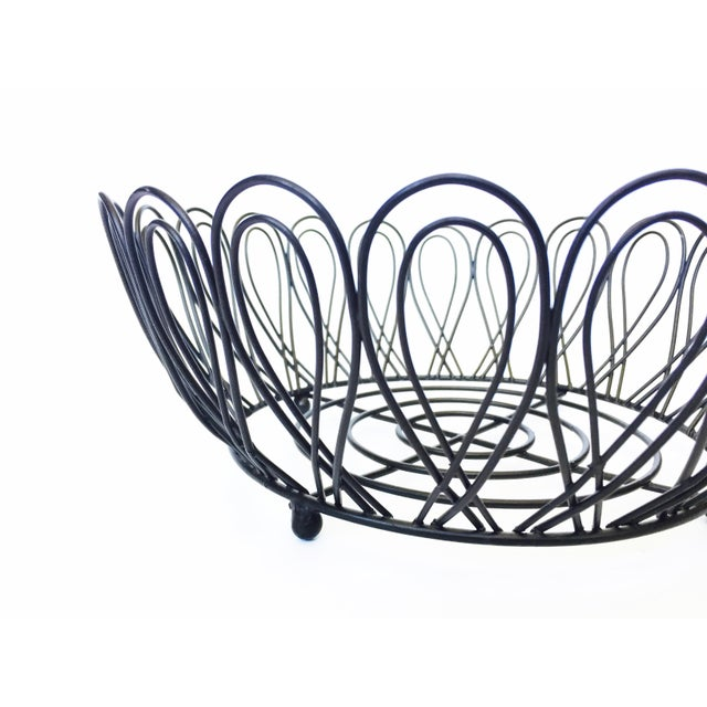 Mid-Century Black Metal Wire Fruit Basket - Image 3 of 3