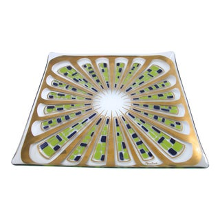 Mid-Century Gay Fad Hand Painted Glass Tray
