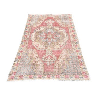 Distressed Vintage Handmade Turkish Oushak Rug - 4′3″ × 7′4″
