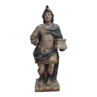 17th Century Antique Carved Roman Soldier Statue