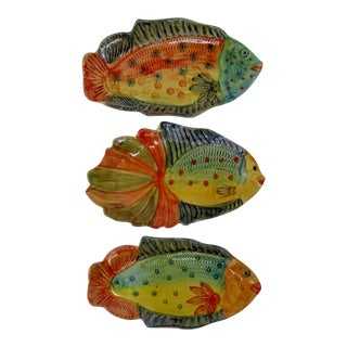 Italian Hanging Fish Plates, Set of 3