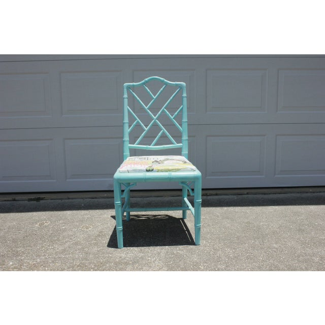 Vintage Faux Bamboo Chinese Chippendale Chair - Image 3 of 7