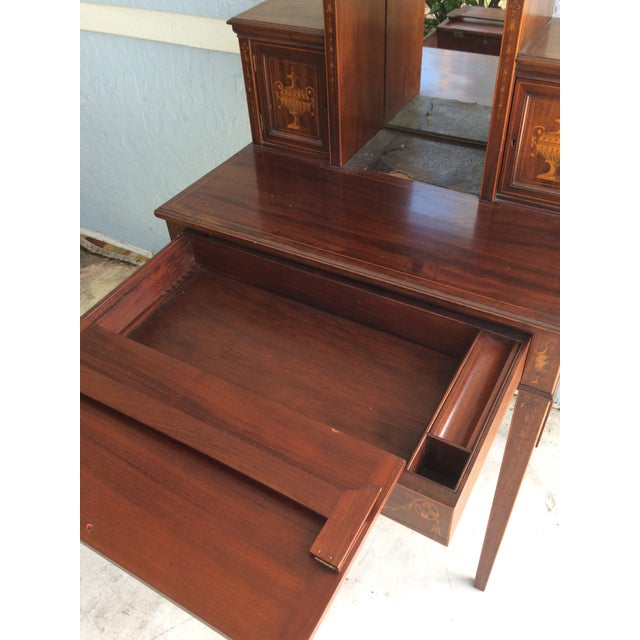 Antique Inlaid Wood Writing Desk - Image 8 of 11 - Antique Inlaid Wood Writing Desk Chairish